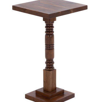 """Round Shaped Pedestal Table With Sturdy Wooden Construction 26"""" H"""