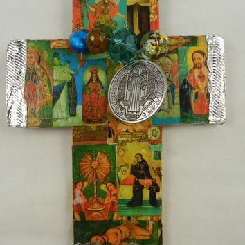 Religious Antique Catholic Images Wooden Wall Cross Handmade