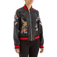 Embroidered Faux-Leather Bomber Jacket 275618427