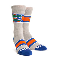 Rock 'Em Elite FLORIDA GATORS - VARSITY STRIPE GRAY Licensed L/XL Crew Socks