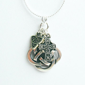 Celtic Trio Necklace - Celtic Quarternary Knot, Celtic Cross Charm, and Celtic Trinity Knot Charm - on Sterling Silver Chain
