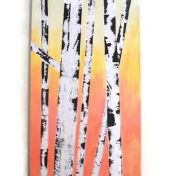 Canvas Painting, Tree Painting, Birch Tree Painting, Acrylic Painting, Wall Art, Sunrise Painting, Textured Painting
