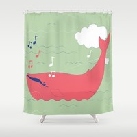 The Singing Whale Shower Curtain by Texnotropio