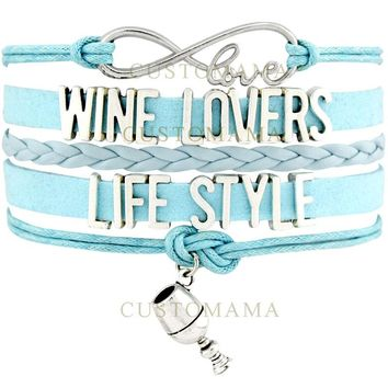 Infinity Love Wine Lovers Life Style - Light Blue Leather Bracelet
