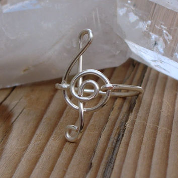 Treble Clef Ring  Wire Wrapped Musical Note by CaterpillarArts