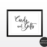 Cards and Gifts Signs Printable Wedding Baby Shower Decor Table Sign Printable Signs 5x7 and 8x10 (v32-1A) Instant Download
