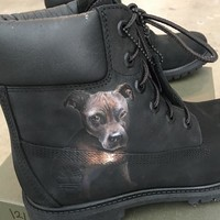 Your Favorite Pooch on Your Favorite Boots - Custom Hand Painted Pet Portraits on Timberland Boots