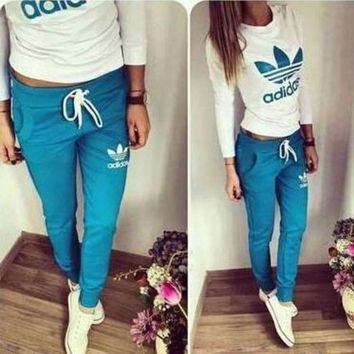 Adidas Fashion Women Casual Clover Letter Print Long Sleeve Trousers Set Two-Piece Sportswear