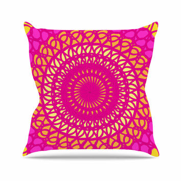 "Pattern Muse ""Radiant Pomegranate"" Pink Yellow Outdoor Throw Pillow"