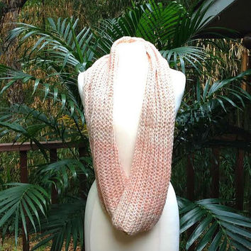 Pink Ombre Gold Metallic Crochet Infinity Scarf, soft pink tone crochet neck warmer scarf, pink crochet infinity scarf