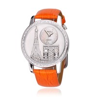 ZLYC Luxury Rhinestone-studded Iron Tower Leather Ladies Watch (C)
