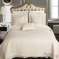 RT™ Luxury Ivory Checkered Quilted Wrinkle Free Microfiber Coverlet Set