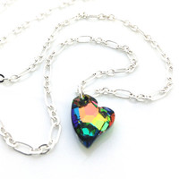 Rainbow Necklace, Multicolor Necklace, Rainbow Jewelry, Pendant, Crystal Heart, Silver Chain, Neon Jewelry, Gift for Teenager