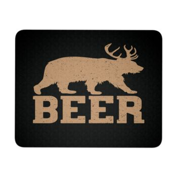 """Bear Beer Mouse Pad 9.25"""" x 7.75"""" 1/4 Thickness Durable Neoprene"""