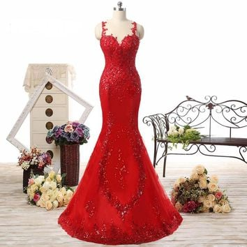 Bling Bling Long Mermaid Sexy Backless Red Prom Dress Mermaid Red Formal Evening Dresses Prom Gown