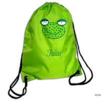 Gym bags with frog and name embroidered laundry bag 3D-Frosch