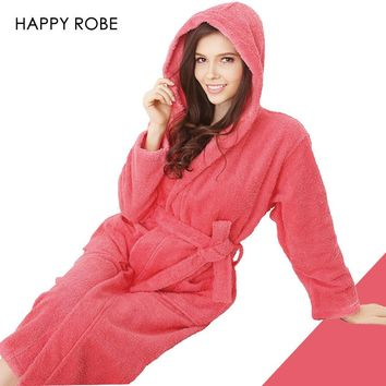 Hooded Toweled bathrobes cotton robe lady women robe autumn and winter waste-absorbing thick soft bathrobe
