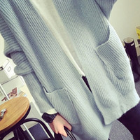 Long Loose Cardigan Sweater with Pocket