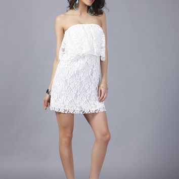 European and American foreign trade sexy lace word collar wrapped chest dress