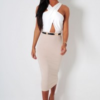 Appointment Nude & White Crossover Midi Dress | Pink Boutique