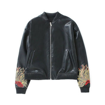 Flower Embroidered Faux Leather Bomber Jacket
