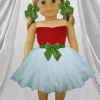 American girl doll Christmas tutu, Girls Christmas gift, American girl doll fancy dress, Christmas themed doll tutu dress