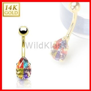 14k Solid Gold Ring 14g Belly Button Ring Tear Drop Multi Colored Prong Set Miracle Gem 14k Yellow Gold 14g Navel Ring Navel Jewelry Bling