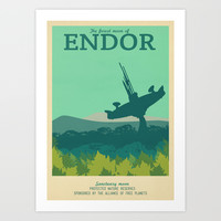 Retro Travel Poster Series - Star Wars - Endor Art Print by Teacuppiranha