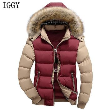 IGGY 14 Color Fashion Brand Winter Men's Down Jacket With Fur Hood Hat Slim Men Outwear Coat Casual Thick Mens Down Jackets 4XL