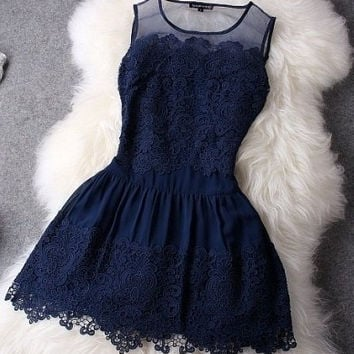 Sleeveless Lace Dress [9853028303]