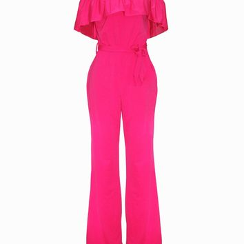 Casual Off Shoulder Flounce Plain Wide-Leg Jumpsuit