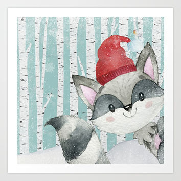 Winter Woodland Friends Cute Racoon Snowy Forest Illustration Art Print by betterhome