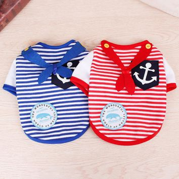 Cute Cat Striped Sailor Shirt in Blue and Red