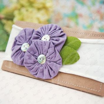 "Shabby Chic ""Kawaii"" Headband - Lavender Button Rosettes on White"