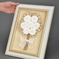 Handmade interior panel Wedding Bouquet Eco friendly gift Wall hanging decor Rustic wedding decor Decorative wall panels white roses