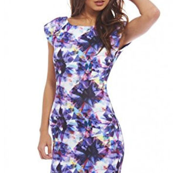 Lavender Abstract Print Capped Sleeve Scoop Back Mini Dress