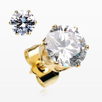 A Pair of Golden Brilliant Sparkle Round CZ Stud Earrings