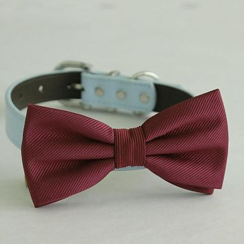 Burgundy bow tie collar Leather dog Ivory blue Navy or Gold collar dog of honor dog ring bearer Puppy XS to XXL collar and bow tie, adjustable
