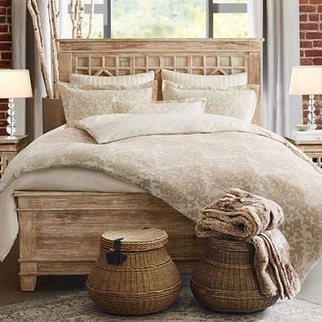 Jacquard Linen Medallion Duvet Cover & Sham - Neutral