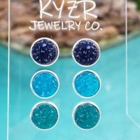 Druzy earring set- Aqua/ Teal and Navy drusy stud set