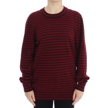 Dolce & Gabbana Red Striped Cashmere Pullover Sweater