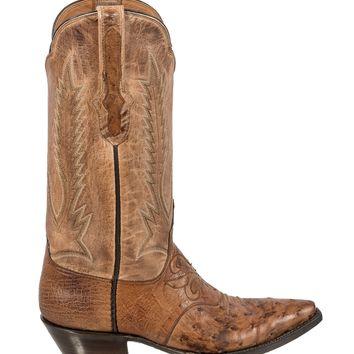 Black Jack~ Full Quill Ostrich Vamp Boot