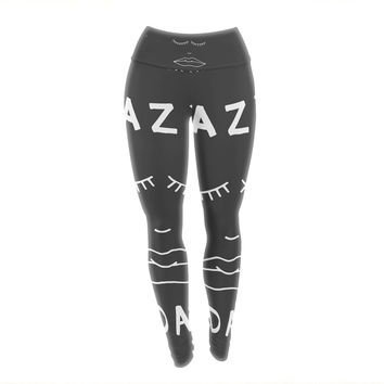 "Vasare Nar ""Lazy Today Grey"" Typography Gray Yoga Leggings"