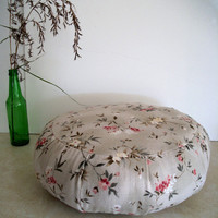 Zafu Cushion in Beige and Floral Sprigs Reclaimed Linen Fabric. Ready to use. Made by a Small Business in the USA