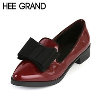 HEE GRAND Spring Platform Women Pumps With Bowtie Patent Leather Shoes Woman Pointed Toe Slip On Loafers Ladies Footwear XWD2527