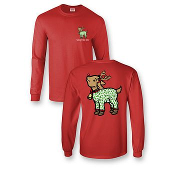Sassy Frass Goat in Pajamas Reindeer Christmas Girlie Bright Long Sleeve T Shirt