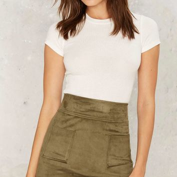 Pocket Up Tight Suede Skirt