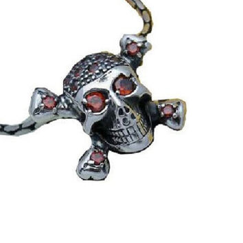 Cross Skull Necklace Sterling Silver Pendant Garnet Men's Jewelry (w/ SILVER CHAIN)