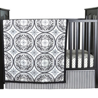 Medallions 3 Piece Home Indoor Nursery Kids Baby Pretty Crib Bedding Set