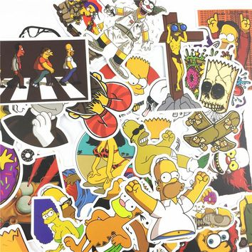 50/100 pcs/lot Cartoon Simpson Stickers Waterproof Sticker Funny For Car Laptop Skateboard Luggage Motorcycle Decal Kids Toy